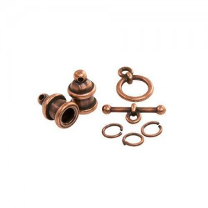 Pagoda 4mm Cord End Set Antiqued Copper Plate - Pkg of 3 TierraCast®