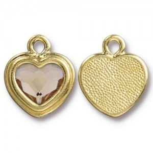14.9mm Stepped Heart Charm Bright Gold TierraCast® Pewter with Swarovski® 2028 10mm Light Silk - Pkg of 6