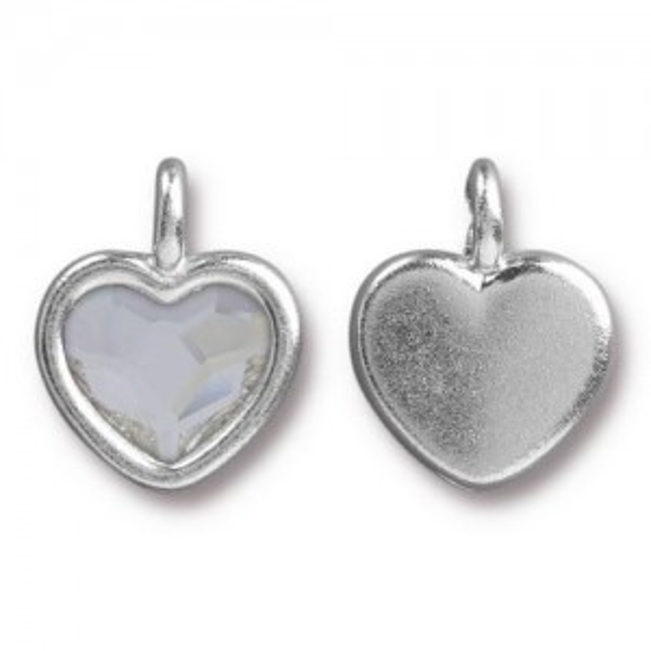 14.9mm Heart Charm Bright Rhodium TierraCast® Pewter with Swarovski® 2028 10mm Crystal - Pkg of 6