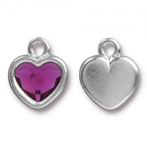 14.9mm Simple Heart Charm Bright Rhodium TierraCast® Pewter with Swarovski® 2028 10mm Fuchsia - Pkg of 6