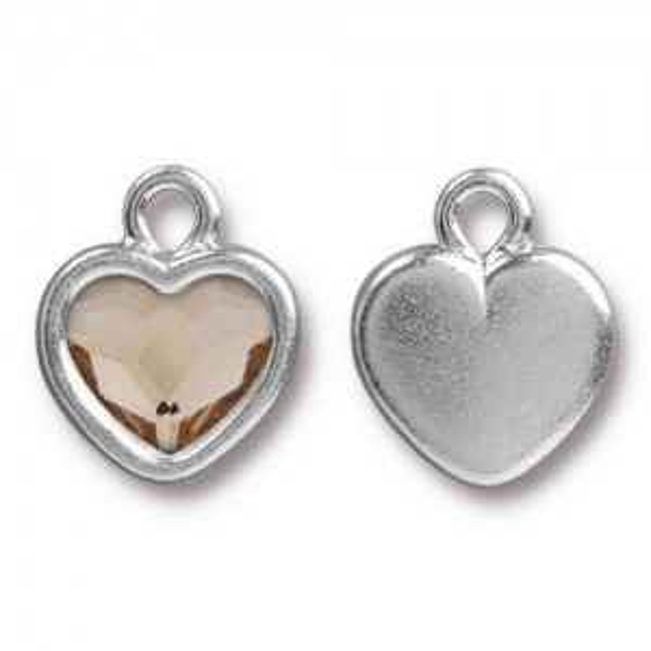 14.9mm Simple Heart Charm Bright Rhodium TierraCast® Pewter with Swarovski® 2028 10mm Light Silk - Pkg of 6