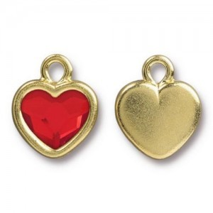14.9mm Simple Heart Charm Bright Gold TierraCast® Pewter with Swarovski® 2028 10mm Light Siam - Pkg of 6
