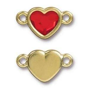 14.9mm Heart Link Bright Gold TierraCast® Pewter with Swarovski® 2028 10mm Light Siam - Pkg of 6