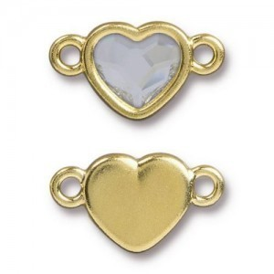 14.9mm Heart Link Bright Gold TierraCast® Pewter with Swarovski® 2028 10mm Crystal - Pkg of 6