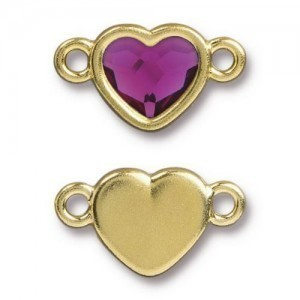 14.9mm Heart Link Bright Gold TierraCast® Pewter with Swarovski® 2028 10mm Fuchsia - Pkg of 6
