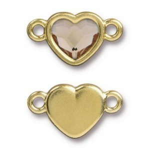 14.9mm Heart Link Bright Gold TierraCast® Pewter with Swarovski® 2028 10mm Light Silk - Pkg of 6
