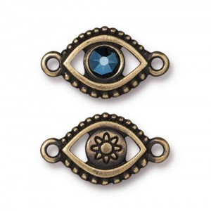 Evil Eye Link With Swarovski® SS20 Oxidized Brass Plate - Pkg of 6 TierraCast®