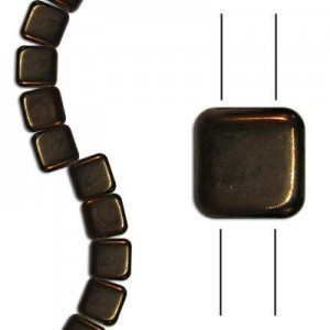 6mm Dark Bronze 2-Hole Czech Glass Tile - 7 Inch Strand (Apx 30 Beads)