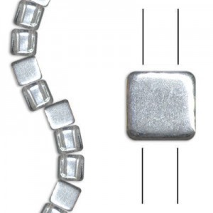 6mm Crystal Silver 2-Hole Czech Glass Tile - 7 Inch Strand (Apx 30 Beads)