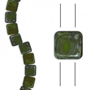 6mm Green Opaque Silver Picasso 2-Hole Czech Glass Tile - 7 Inch Strand (Apx 30 Beads)