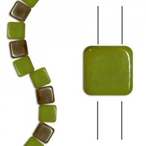 6mm Green Opaque Celsian 2-Hole Czech Glass Tile - 7 Inch Strand (Apx 30 Beads)