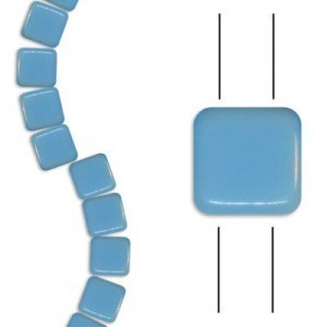 6mm Blue Turquoise 2-Hole Czech Glass Tile - 7 Inch Strand (Apx 30 Beads)