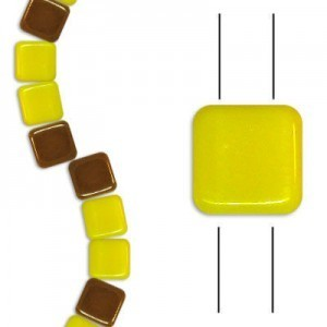6mm Yellow Opaque Celsian 2-Hole Czech Glass Tile - 7 Inch Strand (Apx 30 Beads)