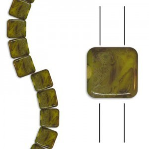 6mm Yellow Opaque Picasso 2-Hole Czech Glass Tile - 7 Inch Strand (Apx 30 Beads)