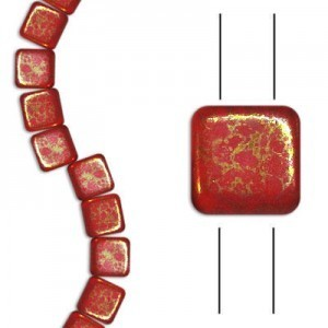 6mm Coral Lumi 2-Hole Czech Glass Tile - 7 Inch Strand (Apx 30 Beads)