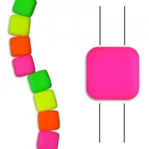 6mm Bright Neon Mix 2-Hole Czech Glass Tile - 7 Inch Strand (Apx 29 Beads)