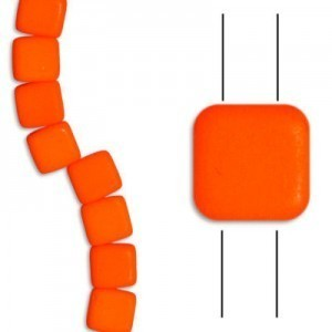 6mm Bright Neon Orange 2-Hole Czech Glass Tile - 7 Inch Strand (Apx 29 Beads)