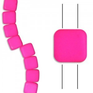 6mm Bright Neon Pink 2-Hole Czech Glass Tile - 7 Inch Strand (Apx 29 Beads)