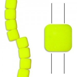 6mm Bright Neon Yellow 2-Hole Czech Glass Tile - 7 Inch Strand (Apx 29 Beads)