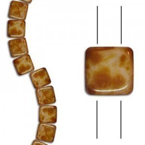 6mm Butter Pecan 2-Hole Czech Glass Tile - 7 Inch Strand (Apx 30 Beads)