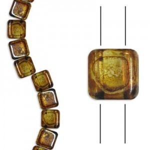 6mm Crystal Picasso 2-Hole Czech Glass Tile - 7 Inch Strand (Apx 30 Beads)
