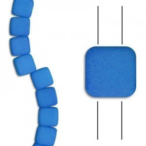 6mm Dark Neon Mykonos Blue 2-Hole Czech Glass Tile - 7 Inch Strand (Apx 30 Beads)