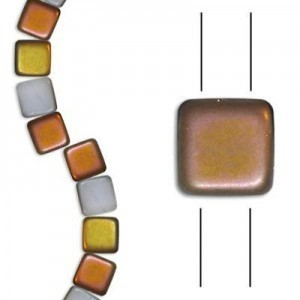 6mm Frosted Chalk Capri 2-Hole Czech Glass Tile - 7 Inch Strand (Apx 30 Beads)