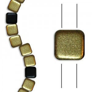 6mm Frosted Black Gold 2-Hole Czech Glass Tile - 7 Inch Strand (Apx 30 Beads)