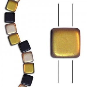 6mm Frosted Jet Capri 2-Hole Czech Glass Tile - 7 Inch Strand (Apx 30 Beads)