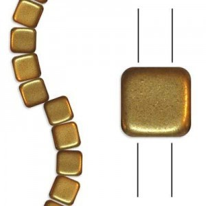 6mm Matte Brass 2-Hole Czech Glass Tile - 7 Inch Strand (Apx 30 Beads)