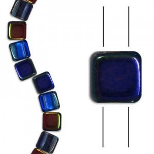 6mm Magic Blue Pink 2-Hole Czech Glass Tile - 7 Inch Strand (Apx 30 Beads)