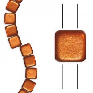 6mm Matte Copper 2-Hole Czech Glass Tile - 7 Inch Strand (Apx 30 Beads)