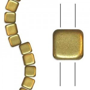 6mm Matte Gold 2-Hole Czech Glass Tile - 7 Inch Strand (Apx 30 Beads)