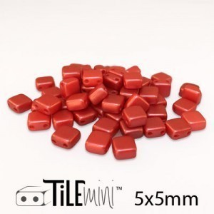 Tile Mini 2-Hole Czech Glass Beads 5mm Pastel Dark Coral - 25 Gram Bag (Apx 150 Pcs)