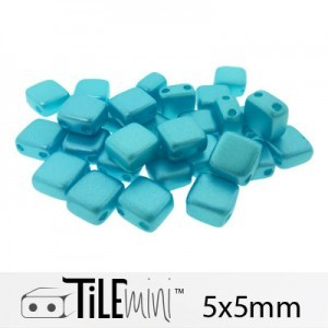 Tile Mini 2-Hole Czech Glass Beads 5mm Pastel Aqua - 25 Gram Bag (Apx 150 Pcs)