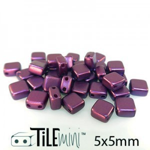 Tile Mini 2-Hole Czech Glass Beads 5mm Pastel Bordeaux - 25 Gram Bag (Apx 150 Pcs)