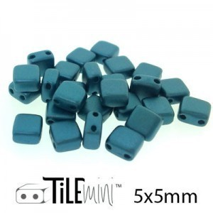 Tile Mini 2-Hole Czech Glass Beads 5mm Pastel Petrol - 25 Gram Bag (Apx 150 Pcs)
