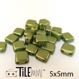 Tile Mini 2-Hole Czech Glass Beads 5mm Pastel Olivine - 25 Gram Bag (Apx 150 Pcs)