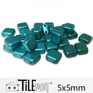 Tile Mini 2-Hole Czech Glass Beads 5mm Pastel Blue Zircon - 25 Gram Bag (Apx 150 Pcs)
