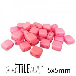Tile Mini 2-Hole Czech Glass Beads 5mm Matte Pink - 25 Gram Bag (Apx 150 Pcs)