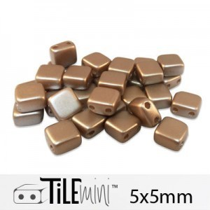 Tile Mini 2-Hole Czech Glass Beads 5mm Cocoa Airy Pearl - 25 Gram Bag (Apx 150 Pcs)