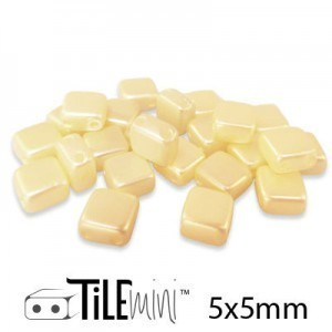 Tile Mini 2-Hole Czech Glass Beads 5mm Cream Airy Pearl - 25 Gram Bag (Apx 150 Pcs)