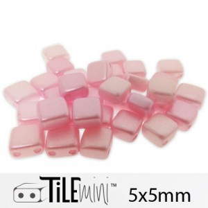 Tile Mini 2-Hole Czech Glass Beads 5mm Pink Airy Pearl - 25 Gram Bag (Apx 150 Pcs)