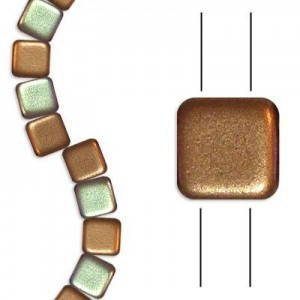 6mm Matte Rosegold AB 2-Hole Czech Glass Tile - 7 Inch Strand (Apx 30 Beads)