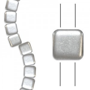 6mm Matte Silver 2-Hole Czech Glass Tile - 7 Inch Strand (Apx 30 Beads)