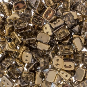 Czech Trios 2-Hole Bead 6x4mm Apx 300pcs Crystal Half Gold