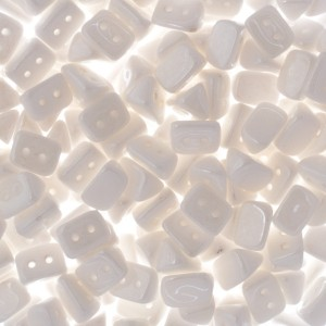 Czech Trios 2-Hole Bead 6x4mm Apx 300pcs Chalk White Shimmer