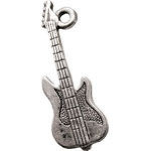 Electric Guitar 26x10mm 1-Sided - Pkg of 10 Quest Beads & Cast™ Antique Pewter