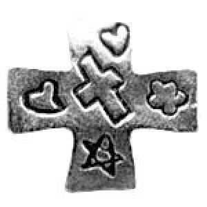 Inscribed Cross Bead 11.5x12mm - Pkg of 10 Quest Beads & Cast™ Antique Pewter