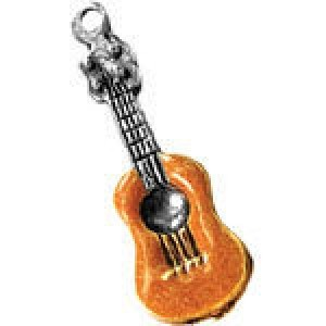 Hand Painted Guitar 31x12mm - Pkg of 5 Quest Beads & Cast™ Antique Pewter